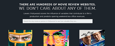 Levers Hollywood beta homepage